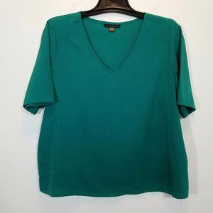 ATTENTION Womens Green Satin Top